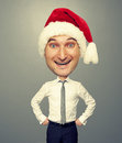 Joyful santa man with big head funny picture of Royalty Free Stock Photography