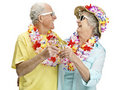 Joyful senior couple drinking wine on vacation Royalty Free Stock Image