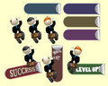 Joyful Successful Salesperson Workers Stickers Set Royalty Free Stock Photos