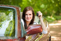Joyful Teenager Female Driver Cheerful Royalty Free Stock Image