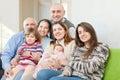 Joyful three generations family in home Royalty Free Stock Photo
