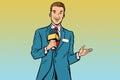 Joyful TV reporter with microphone