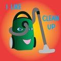 Joyful vacuum cleaner likes cleaning.