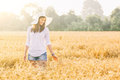 Joyful woman in the countryside Royalty Free Stock Photo