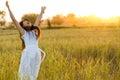 Joyful woman in a field Royalty Free Stock Photo