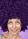 Joyful woman with funny hair coiffure Royalty Free Stock Image