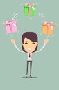 Joyful woman holding a lot of boxes with gifts