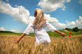 Joyful woman in summer field with long blond hair stands a golden summertime wheat with her arms outstretched pleasure Stock Image