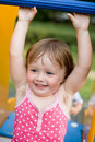 Joyful young lady on the playground. Royalty Free Stock Photo