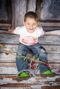 Joyfulness joyful boy in a studio smiling Royalty Free Stock Photography