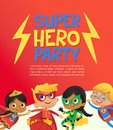 Joyous Multiracial kids in super hero outfit and balloons happily jump. Vector Illustration of a Super Hero Party poster