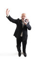 Joyous senior businessman top view of with megaphone looking at camera and screaming isolated on white background Royalty Free Stock Photography