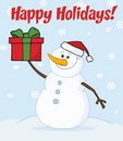 Joyous snowman holding a christmas present Royalty Free Stock Photos