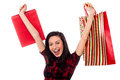 Joyous young girl enjoying her shopping gorgeous holding bags filled with excitement Stock Photography