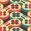 Joystick retro seamless pattern. Gampad Game console 8 bit