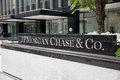 Jp morgan chase co front entrance sign to and on park ave in manhattan new york city Stock Photography