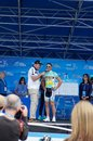 Juan antonio flecha tour of california from vacansoleil dcm team at the amgen on stage with dave towle at the starting line in Royalty Free Stock Image
