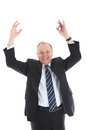 Jubilant businessman with arms raised Royalty Free Stock Image