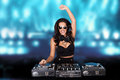 Jubilant sexy female disc jockey Royalty Free Stock Photos