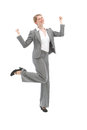 Jubilant woman dancing Royalty Free Stock Photo