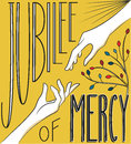 Jubilee of mercy hand lettering to illustrate the indicted by pope francis from december to november extended Royalty Free Stock Image