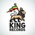 Judah lion with a rastafari flag king of zion logo illustration reggae music vector design Stock Photography