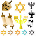 Judaism elements set in white background Stock Photo