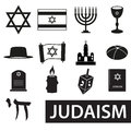Judaism religion symbols vector set of icons eps10 Royalty Free Stock Photo