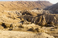 Judea desert landscape and halamish river and ruins israel Stock Images