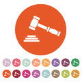 The judge or auction hammer icon. Justice symbol Royalty Free Stock Photo