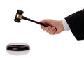 Judge with gavel hitting giving his verdict Royalty Free Stock Image