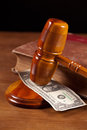 Judge gavel and money Royalty Free Stock Images