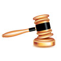 Judge gavel on wooden surface isolated white Stock Image