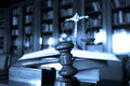 Judge s gavel photo of wooden in the library focus on the blue tone Royalty Free Stock Photos