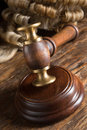 Judge s wig his gavel wooden block Stock Image