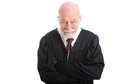 Judge skeptical wise old isolated on white background with a expression Royalty Free Stock Photos