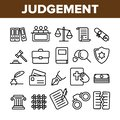 Judgement, Court Process Vector Thin Line Icons Set Royalty Free Stock Photo