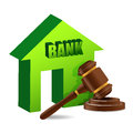 Judges gavel and bank illustration design over white Royalty Free Stock Photos