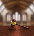 Judges gavel in courthouse justice concept on table Royalty Free Stock Photos