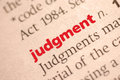 Judgment dictionary definition of close up view with paper textures sepia tone Stock Images