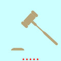 The judicial hammer it is color icon .