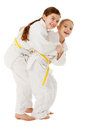 Judo kids training and having fun studio shoot Stock Image