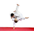 Judo throws in performing athletes in judogi Royalty Free Stock Photography
