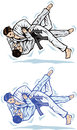 Judo trip stylized drawing of two martial artist sparring Stock Images