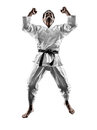 Judoka fighter man silhouette one in on white background Stock Photos