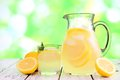 Jug and glass of lemonade against green outdoors background Royalty Free Stock Photo