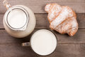 Jug and a glass of milk with a croissant on a wooden background. Top view