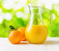 Jug of orange juice on nature background half full pitcher Stock Photography
