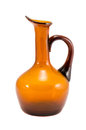 Jug vase yellow brown glass isolated on white Stock Photos