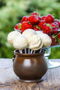 Jug of white cake pops fresh strawberries around summer garden party Royalty Free Stock Image